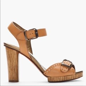 Lanvin Tan Leather Strappy open toe wooden heels
